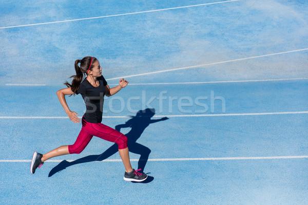 Atleet runner vrouw lopen atletisch lopen Stockfoto © Maridav