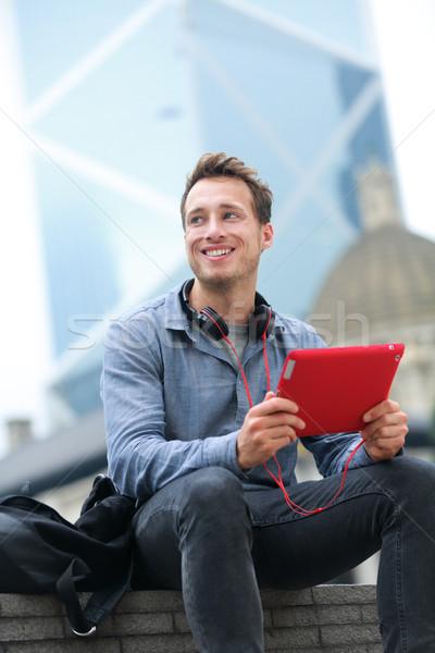 Stedelijke man tablet vergadering Hong Kong jonge Stockfoto © Maridav