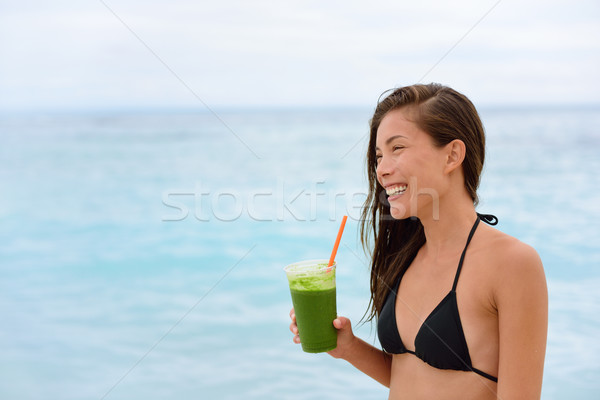 Green detox smoothie - woman drinking vegetables Stock photo © Maridav