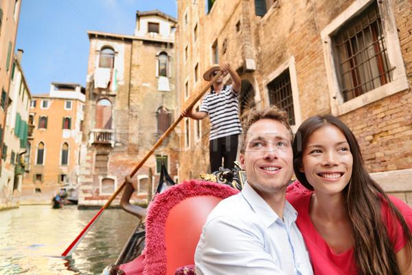 Romântico viajar casal Veneza gôndola barco Foto stock © Maridav