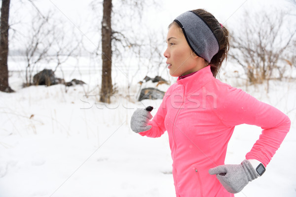 Coureur sentier courir froid hiver neige Photo stock © Maridav