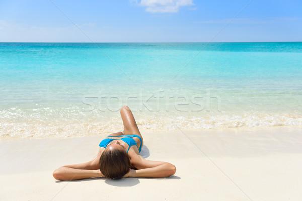 Karaibów plaży wakacje opalenizna kobieta Zdjęcia stock © Maridav
