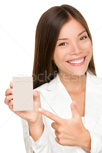 Stock photo: Woman showing holding sign