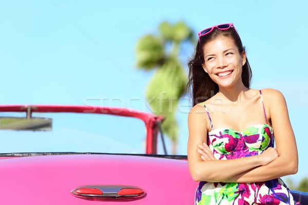 Coche mujer feliz sonriendo rosa Foto stock © Maridav