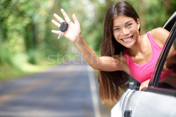 Araba kadın yeni araç tuşları mutlu Stok fotoğraf © Maridav