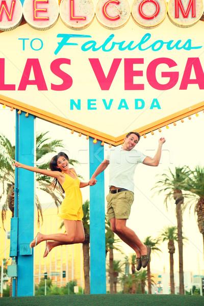 Las Vegas assinar pessoas felizes saltando bem-vindo Foto stock © Maridav