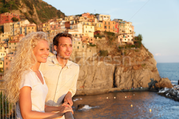 Romantic couple in love by sunset in Cinque Terre Stock photo © Maridav
