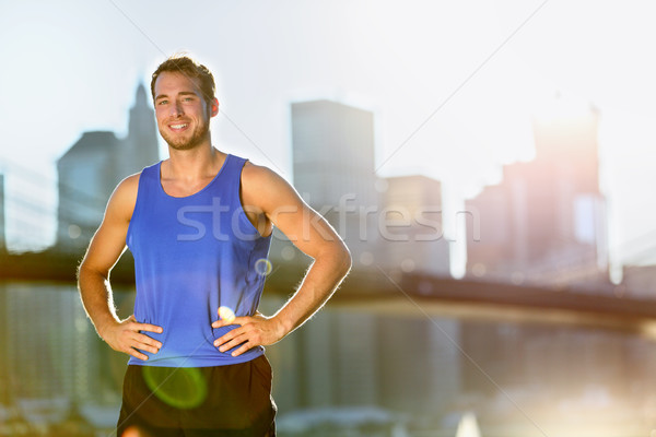 Stockfoto: Sport · atleet · man · runner · New · York · City · skyline
