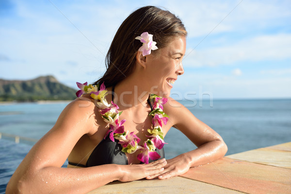 Stock photo: Hawaii vacations woman on holiday at beach resort