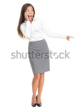 Surprised woman standing isolated Stock photo © Maridav