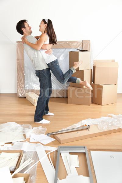 Ruchu para szczęśliwy podniecony nowy dom młodych Zdjęcia stock © Maridav
