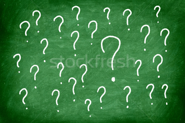 Zdjęcia stock: Pytania · znak · zapytania · zielone · Tablica · szkoły · projektu