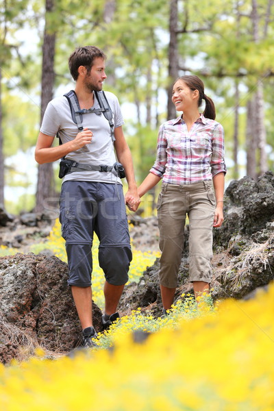 Hiking couple walking in forest Stock photo © Maridav