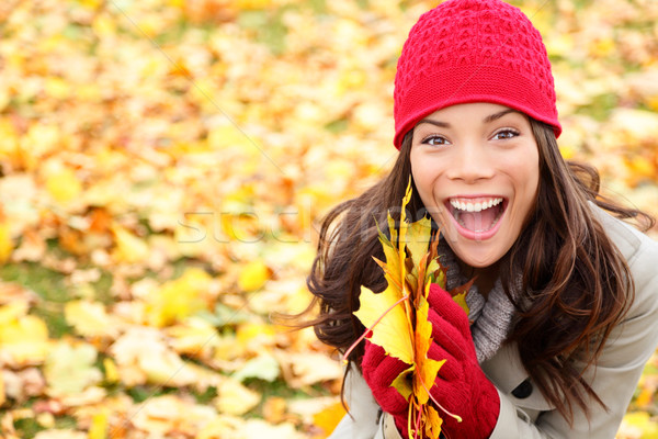 Asian Autumn woman holding fall leaves in forest Stock photo © Maridav