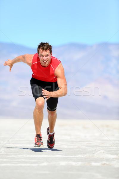 Running man - runner sprinting in desert Stock photo © Maridav