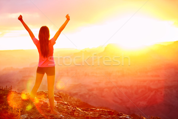 Freedom and adventure - woman happy, Grand Canyon Stock photo © Maridav
