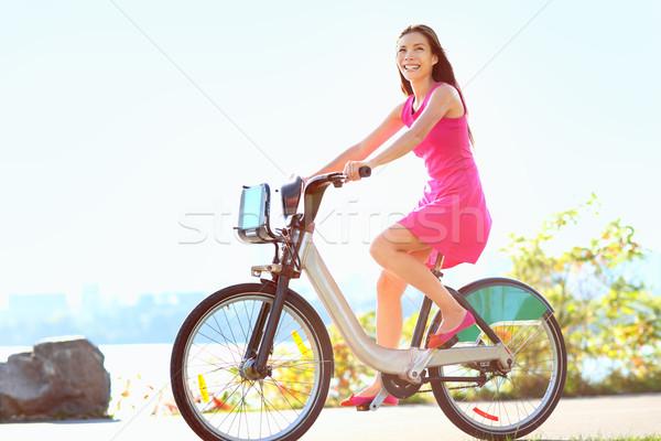 Stockfoto: Meisje · fiets · stad · park · fiets