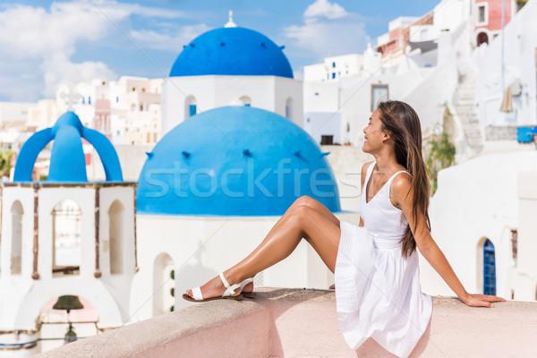 Stock fotó: Santorini · tájékozódási · pont · három · kék · nő · turista
