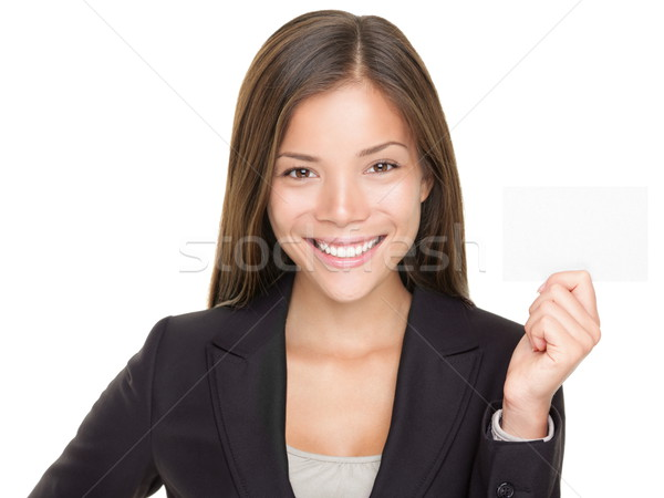 Businesswoman holding business card Stock photo © Maridav