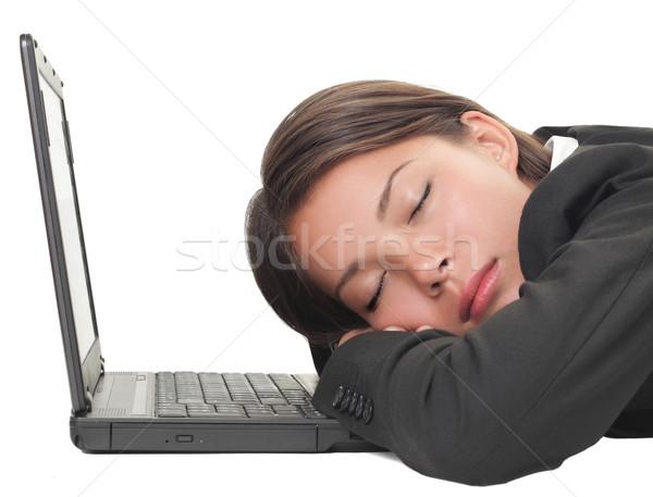 Kobieta snem laptop moc drzemka Zdjęcia stock © Maridav