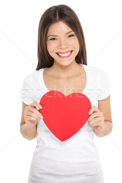Valentines day woman holding heart isolated Stock photo © Maridav