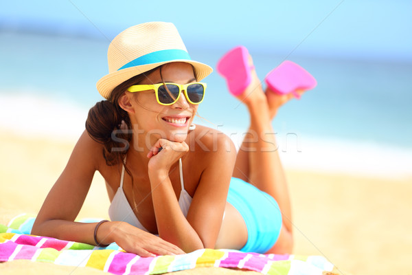 Beach woman funky happy and colorful Stock photo © Maridav