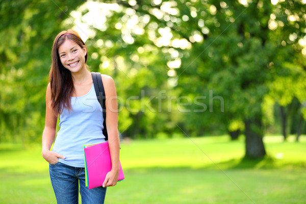 Student girl portrait holding books and backpack Stock photo © Maridav