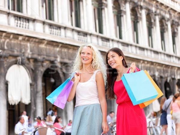 ショッピング 女性 少女 袋 ヴェネツィア ストックフォト © Maridav