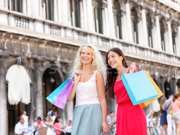Shopping women - girl shoppers with bags, Venice Stock photo © Maridav