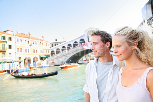 Venice couple by Rialto Bridge on Grand Canal Stock photo © Maridav