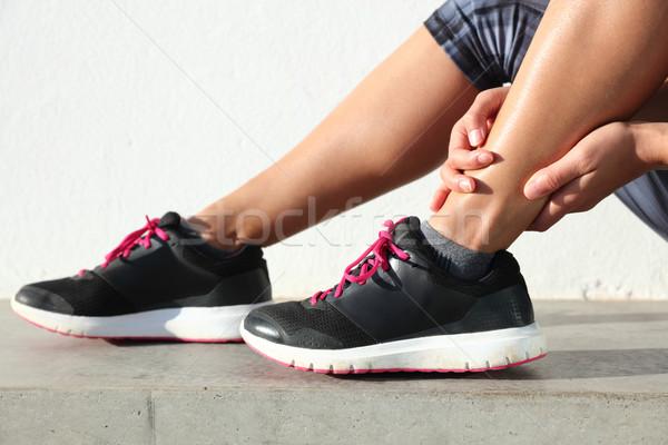 Stockfoto: Enkel · pijn · vrouwelijke · runner · pijnlijk