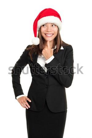 Stok fotoğraf: Noel · iş · kadını · düşünme · bakıyor · yan