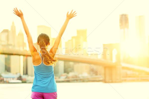Szczęśliwy kobieta Nowy Jork widoku Zdjęcia stock © Maridav