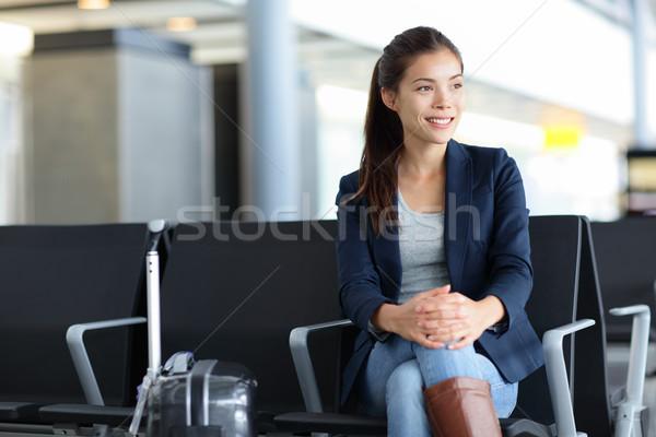 азиатских женщину аэропорту Воздушные путешествия ждет молодые Сток-фото © Maridav