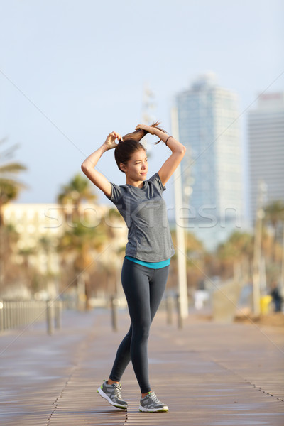 Runner woman running, Barcelona Beach Barceloneta Stock photo © Maridav