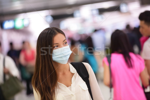 Person wearing protective mask in airport Stock photo © Maridav