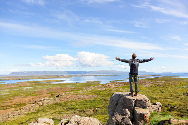 Freedom man in nature on iceland free Stock photo © Maridav