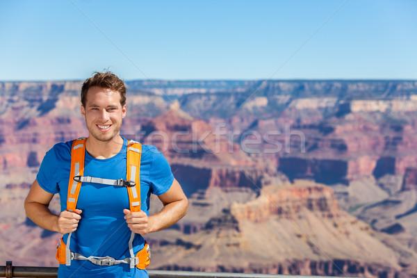 Grand Canyon természetjáró férfi portré hátizsák táska Stock fotó © Maridav