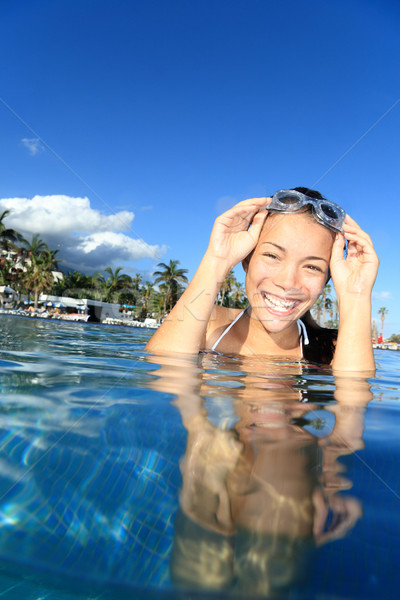 Pool woman on holidays swimming Stock photo © Maridav