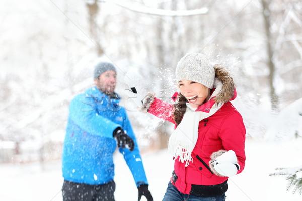 Kartopu kavga kış çift oynama Stok fotoğraf © Maridav