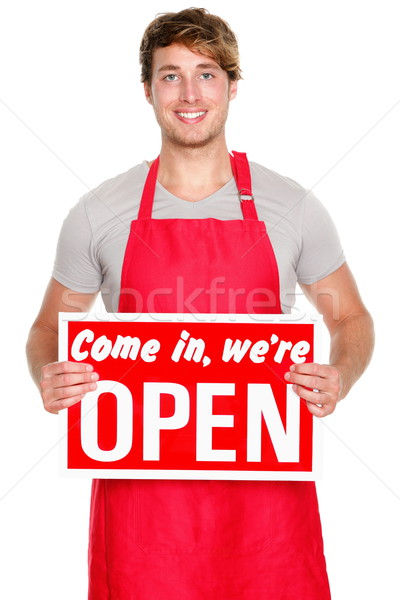 Business shop owner showing open sign Stock photo © Maridav