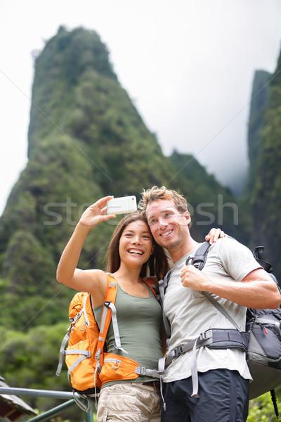 Coppia autoritratto escursioni Hawaii outdoor Foto d'archivio © Maridav