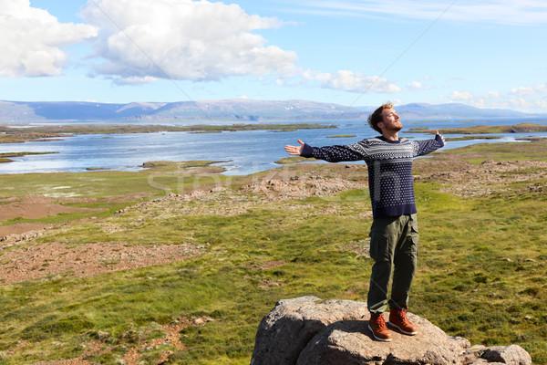 Foto stock: Liberdade · homem · natureza · Islândia · feliz · brasão