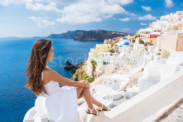 Európa úticél turista nő Görögország nyár Stock fotó © Maridav