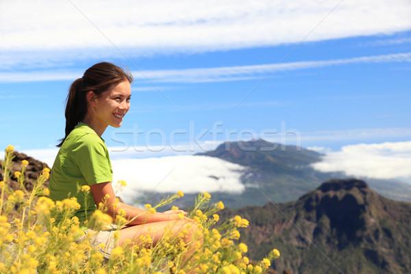 Hiking woman enjoying view Stock photo © Maridav
