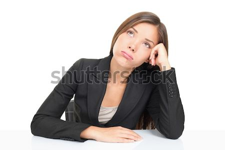Nudzić kobieta interesu kobieta posiedzenia biurko Zdjęcia stock © Maridav