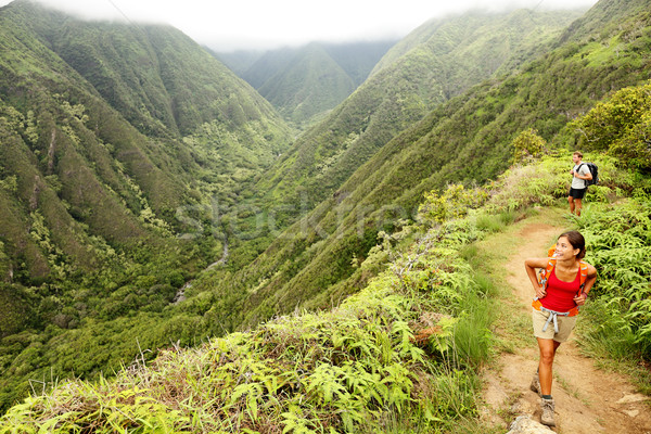 Hiking people on Hawaii, Waihee ridge trail, Maui Stock photo © Maridav