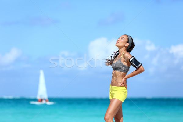 Fáradt fitnessz nő elvesz törik edzés jogging Stock fotó © Maridav