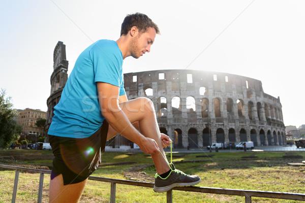 Uprawiający jogging uruchomiony młodych mężczyzna Zdjęcia stock © Maridav