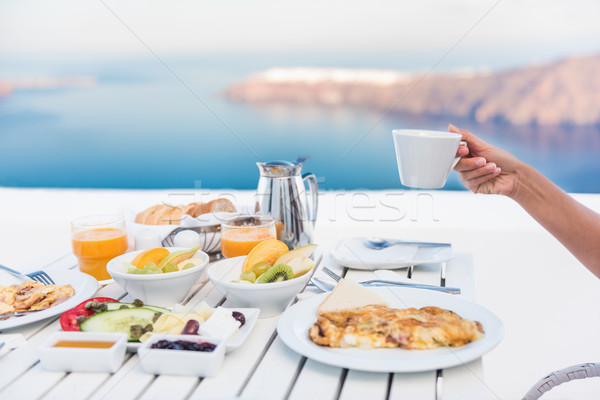 Stockfoto: Ochtend · persoon · drinken · koffie · ontbijt · tabel